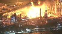 Explosions, large fire breaks out at oil refinery in Carson