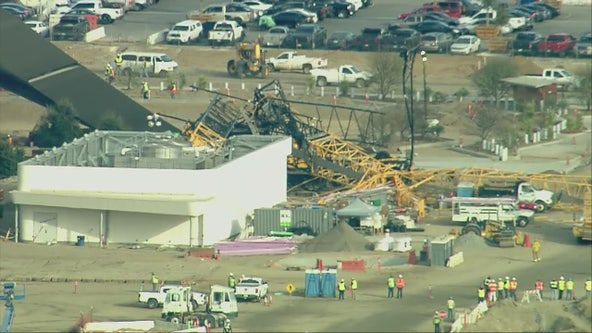 Crane collapses at SoFi Stadium in Inglewood, no injuries reported