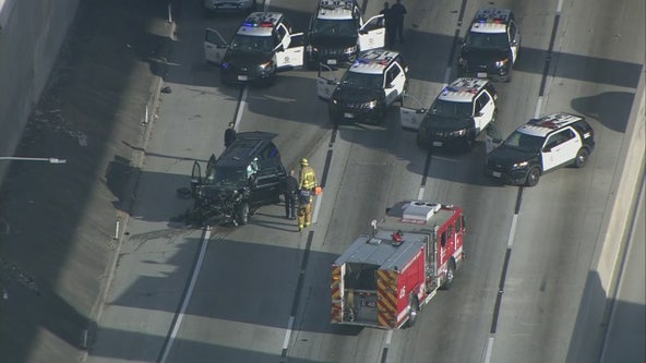 Hearse stolen outside Pasadena church with woman's corpse inside crashes on 110 Freeway
