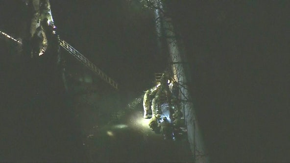 Firefighters rescue person that fell into creek