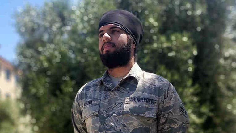 Airman 1st Class Harpreetinder Singh Bajwa was granted an historic religious accommodation by the Air Force allowing him to wear a turban, beard, and unshorn hair in keeping with his Sikh faith. (ACLU)