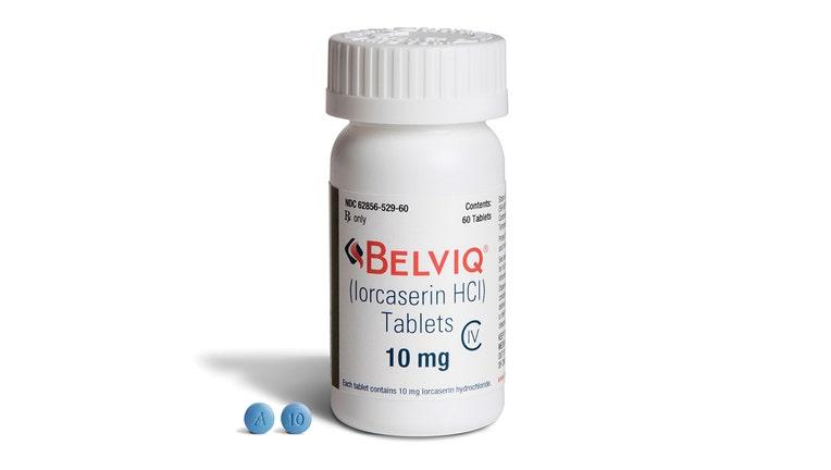 A bottle of Belviq brand tablets.
