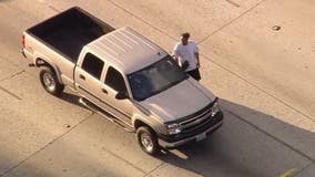 Pursuit suspect taken into custody after crashing into car, running onto lanes of 210 freeway in Arcadia