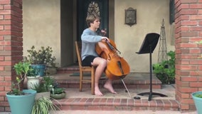 Long Beach student plays cello on porch, bringing love of music to entire neighborhood