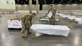 National Guard transforms LA Convention Center into field hospital amid coronavirus pandemic