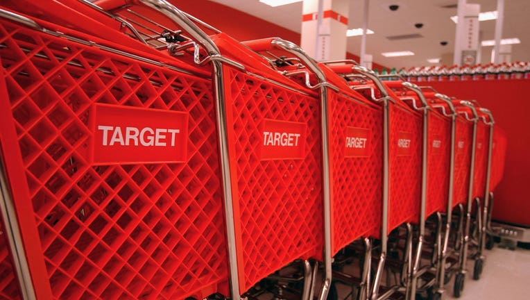 Target shopping carts are shown in a file photo. (Photo by Ramin Talaie/Corbis via Getty Images)