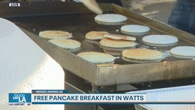 Heroes Among Us: East Side Riders Bike Club serves up free pancake breakfast meals in Watts