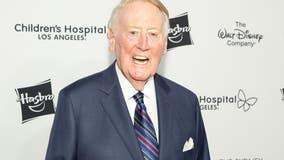 Vin Scully at home recovering after being hospitalized for a fall