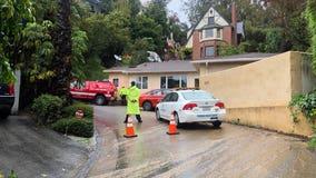 Heavy rain triggers Hollywood Hills mudslide, prompts street closure