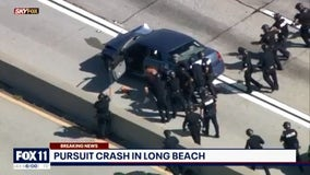 Chase suspect arrested after standoff on 91 Freeway, shutting down all lanes