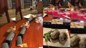 Family on COVID-19 lockdown gets creative for dinner with DIY sushi train