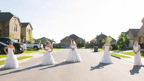 Texas women stage 'wedding dress Wednesday' photo shoot while social distancing