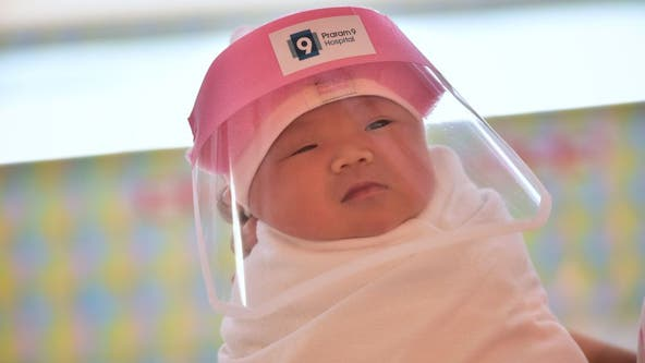 Hospital puts face shields on newborns