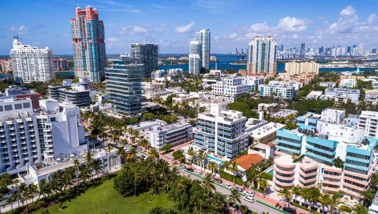 Florida, Miami Beach, aerial of Skyline and condominiums