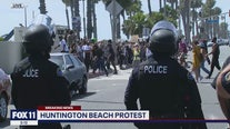 Peaceful protest in Huntington Beach