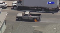 South LA police pursuit ends after rim catches fire on allegedly stolen pickup truck