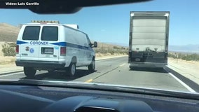 Coroner van caught on video nearly getting in wreck