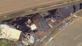 Overturned truck spills beer off 10 Freeway in West Covina