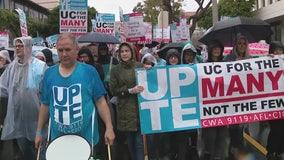 Democratic Presidential candidate Bernie Sanders joins UCLA worker protest