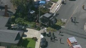 Trash truck fire crash in Monterey Park