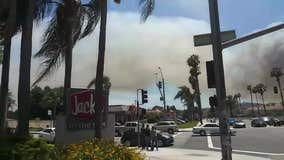 Cellphone video of Chino Hiils fire plume of smoke in Pomona
