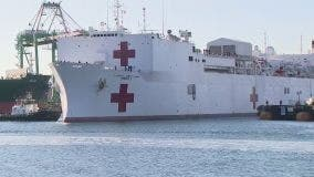 USNS Mercy hospital ship departs Los Angeles and heads home to San Diego