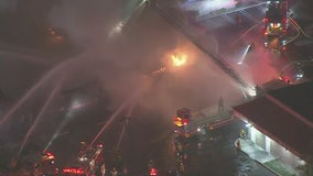 Three-Alarm fire breaks out in El Monte strip mall, causing partial collapse
