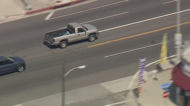 Authorities in pursuit of stolen pickup truck in South LA