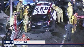 2 LAPD officers suffer major injuries after horrific four-vehicle crash in South Los Angeles