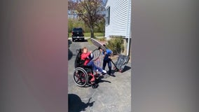 Teamwork: Brother helps sister with Leigh's disease nail slam dunk