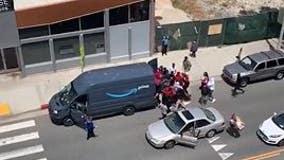 Video shows looters raiding Amazon van in Santa Monica, California