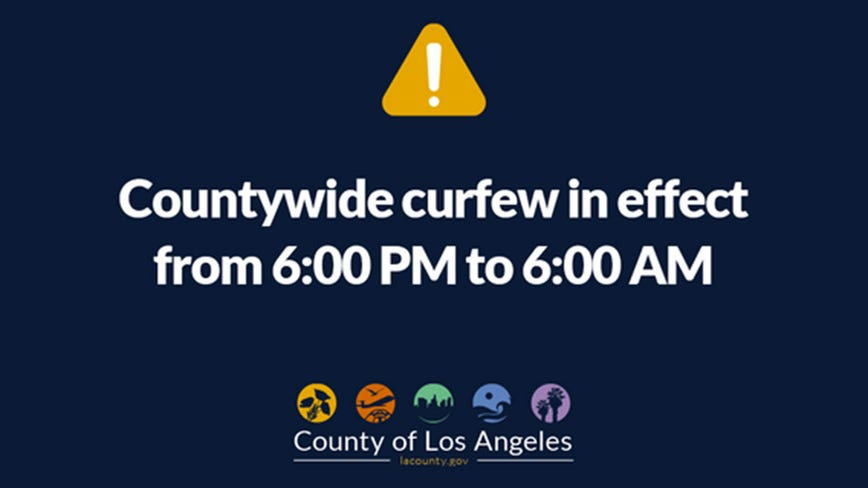 Los Angeles County extends 6 p.m. curfew for the night of June 1