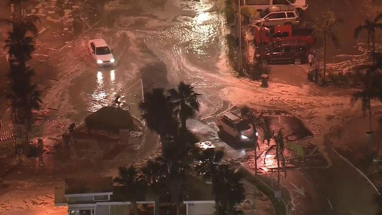 High Tide Surf Cause Major Flooding In Newport Beach
