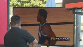 Bars set up TV's outside for fans to watch Lakers, Clippers NBA game