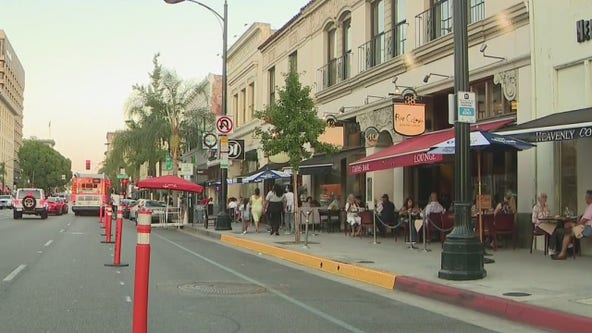 Colorado Boulevard in Pasadena partially closes to transform road into on-street dining