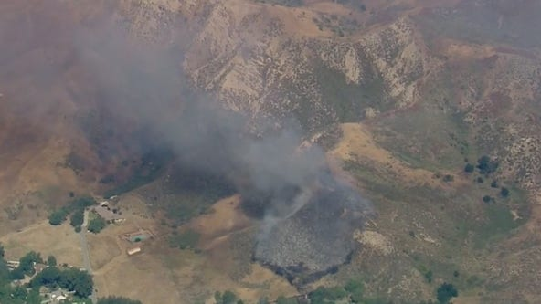 Cambria Fire threatens structures in Newhall
