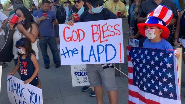 Rally outside of LAPD headquarters to defend the police