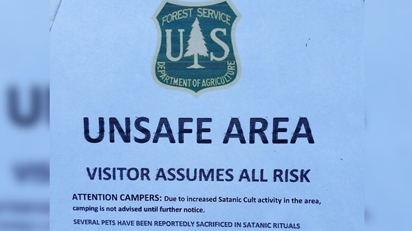 Posters claiming 'increased Satanic Cult activity' in the San Bernardino National Forest deemed fake