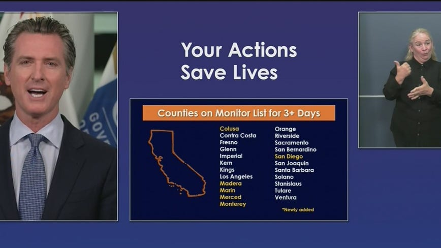 More California counties added to state's watchlist