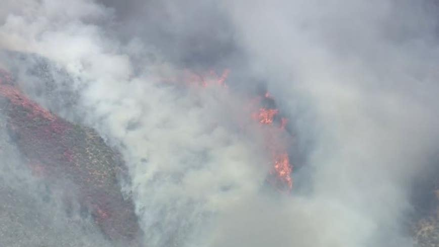 Firefighters battling brush fire near Agua Dulce