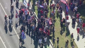 Unlawful assembly declared as protesters clash during Pro-Trump rally in Beverly Hills