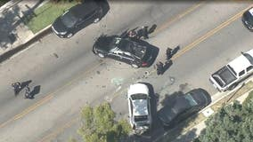 Pursuit ends with violent crash near Burbank, 2 suspects in custody