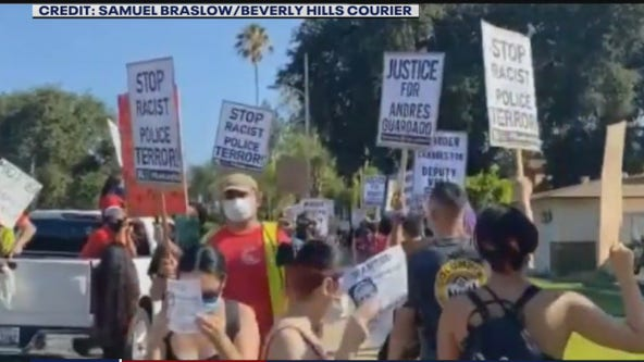 Protests outside the home of deputy who shot Andres Guardado in Covina turns ugly