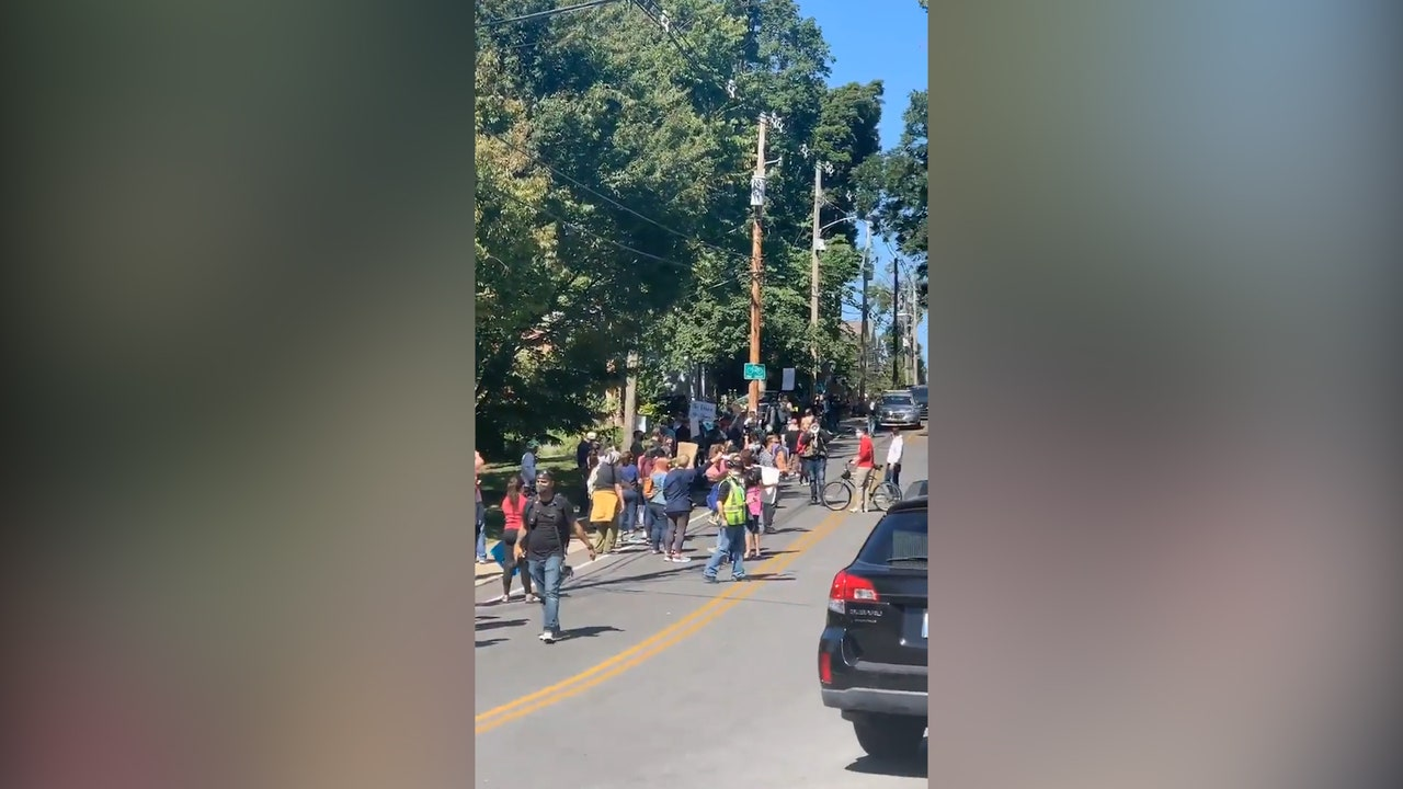 Protesters gather outside Mitch McConnell's home amid ...