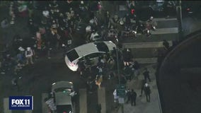 Protester struck by vehicle in Hollywood