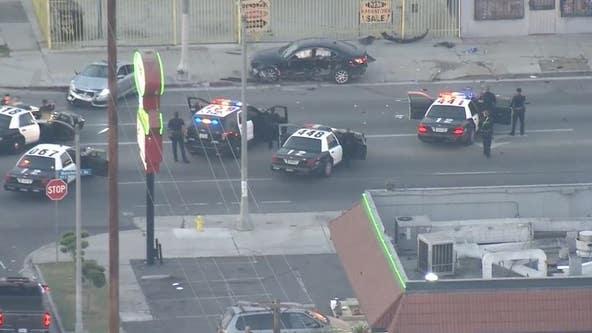 Suspect taken into custody after wild pursuit near South LA ends in crash