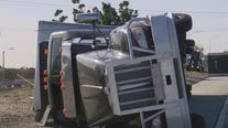 Strong Santa Ana winds causes several big rigs to turn over