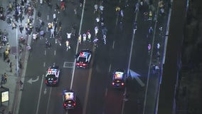 Fan celebration of Lakers victory around Staples Center prompts police response