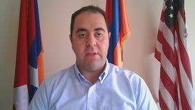 Local Armenian American Gabriyel Mamikonyan addresses DC protest