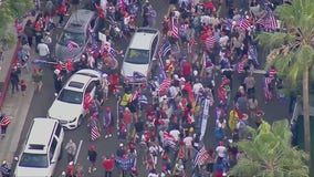 President Trump's supporters gather in Beverly Hills, disrupting traffic